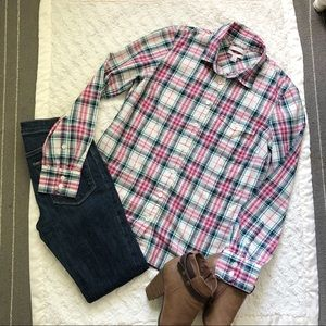 J Crew Boy Shirt in Strawberry Mint Plaid